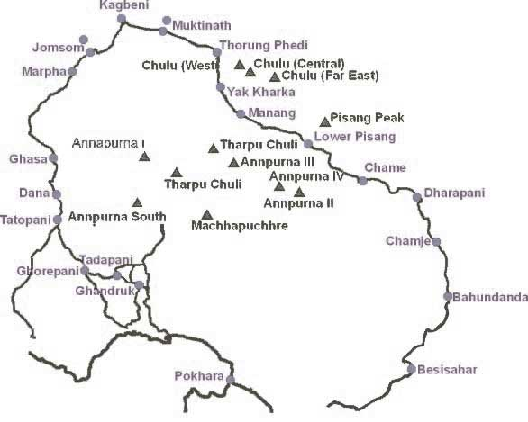 Annapurna Circuit Jeep + Trekking Map