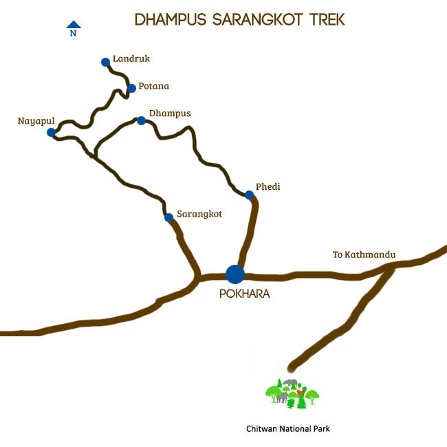 Sarangkot Trekking with Chitwan Map