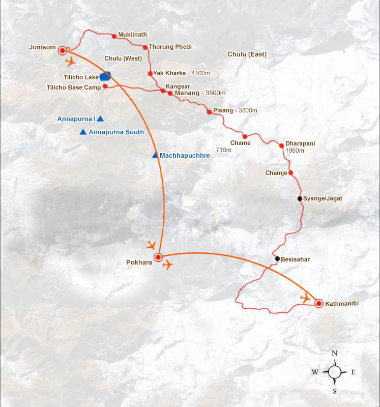 Tilicho Lake Trekking Map